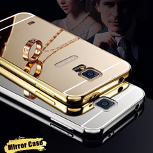 Luxury Gold Silver Mirror Aluminum Case for Samsung Galaxy S4 S5 S6 S7 Edge Plus Aluminum Frame + Acrylic Phone Cases Cover
