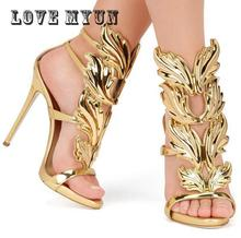 Black Pink Metallic Winged Gladiator Women Sandals 2017 High Heels Brand Sandals Summer Shoes Woman  Ladies Shoes Pumps