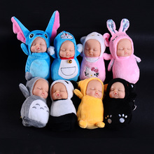 Fashion Cute Simulation Sleep Baby Doll Keychain Cartoon Plush Keyring Women Car Bag Charm Key Chains Purse Jewelry Accessories