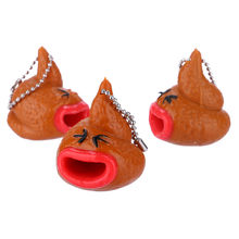 Squeeze soft Poo Emoticon Toy Keychains Pop Out Tongues Novelty Fun Little Tricky Prank Funny Gift Z0226(China)