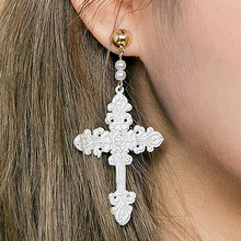 Baroque Lace Earrings For Women Vintage Simulated Pearls Alloy Gold Color Cross New Earring Gift Jewelry EB6244
