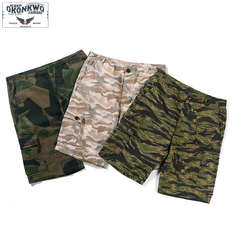 2019 New Summer Camouflage Army Shorts Men Multi Pocket Military Cargo Short Pants Knee Length Casual Shorts Mens Clothing