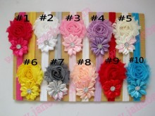 free shipping 50pcs Shabby Flower Headband Newborn Hair Bow Little Girls Hairbow Shabby chic headband
