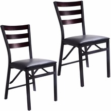 Goplus Set of 2 Folding Chair Dining Chairs Home Restaurant Furniture Portable New Modern Living Room Wood Chairs HW52160(China)