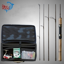 RoseWood 5 Sections Travel Rod Combo Full Kit Spinning Fishing Reel Gear Pole Set Portable 1.8m 2.4m Lure Fishing Rod(China)
