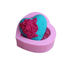 Loving Heart Rose Flower Silicone Soap Mold Cake Decorating Sugarcraft Cupcake 3D Mould