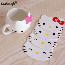 Keythemelife 1PCS Hello Kitty Cup Mat Silicone Drink Pads Dining Table Placemat Coaster Kitchen Table Accessories Mat CA