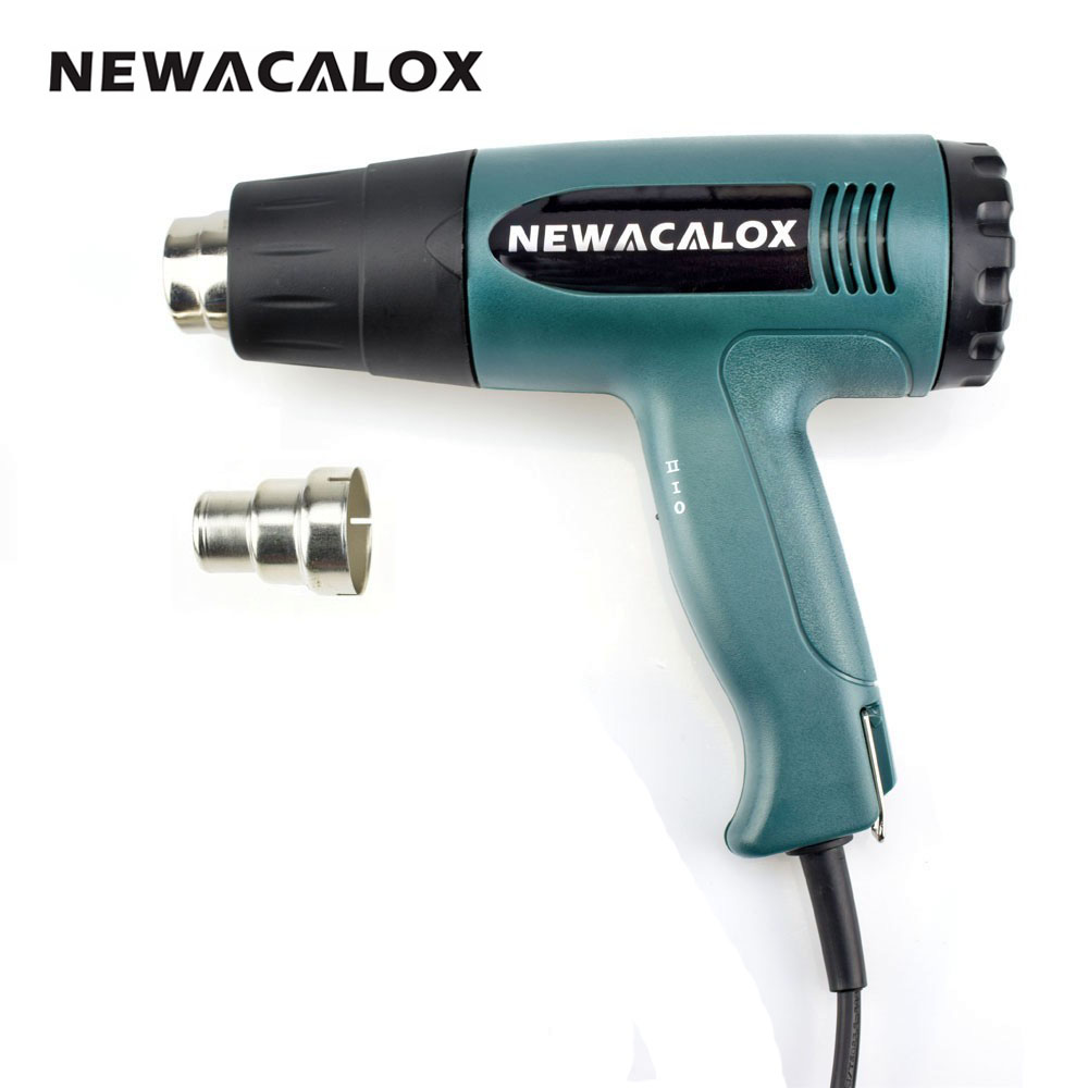 NEWACALOX 1800 Watt 220V EU Plug Industrial Electric Hot Air Gun Heat Gun Kit Professional Heatguns Shrink Wrap Blower Heater<br>