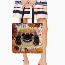 Storage Shopping Tote Bags Two Sides Printing White Canvas Casual Daily Use Single Shoulder Bags Colorful Animal Pets Dog