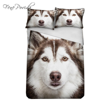 3PCS Lovely Cool Husky Fashion High Quality Bedding Set Duvet Cover Bedsheet Pillowcase  Bedding Kit Single Size 201X156CM A277