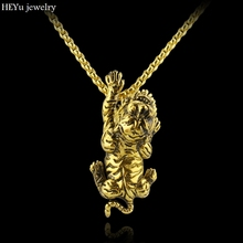 Novelty Animal 3D Gold Tiger Charm Necklace Personalized design Antique Gold Tiger Necklace for Men Women Jewelry Punk Gift