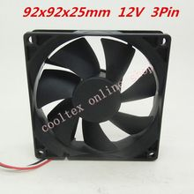 (10pcs/lot)  92x92x25mm 9225 fans 12 Volt  3pin 0.2A  Brushless 9cm DC Fans  cooling radiator  Free Shipping