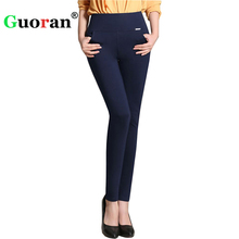 {Guoran}2017 casual office work pants women Warm Fleece High Waist pencil pants Stretch black White trousers Plus Size Winter