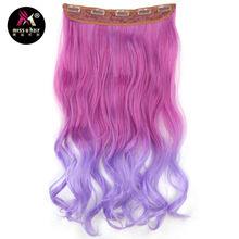 Miss U Hair Long Wavy Clip in on Hair Extensions Ombre Rainbow color Women Synthetic 5 Clips In hairpiece(China)