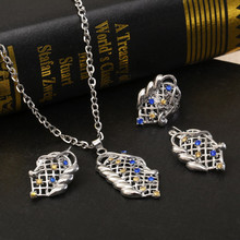 Hesiod Antique Unique Jewelry Sets Necklace Earring Ring Hollow Flower Link Chain Women 4pcs Jewelry Sets