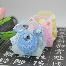 12pcs/lot Bear Shape DIY Gift Christening Baby Shower Party Favor Boxes Paper Candy Box with Bib Tags & Ribbons