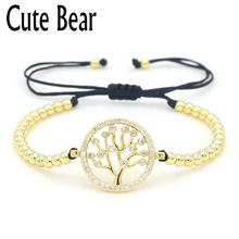 Cute Bear Brand Women Bracelet Luxury Fashion 4 mm Copper Beads Micro Pave White AAA Zircon Life Tree Connect Beaded Bracelets(China)