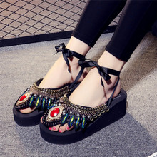 2017 Summer Woman Fashion Slippers Bohemia Style Ladies Chain Diamond Ankle Strap Platfrom Sandals Flip Flop Women Shoes Z816