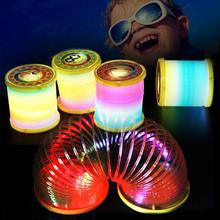 2017 Hot Lantern Rainbow Circle Cartoon Toys Design Flash Plastic Spring Coil With The Rod And Rope Luminous Lighting Toys