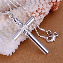 P243_2 Wholesale silver plated Necklace, Factory price High Quality fashion jewelry Whistle Cross /aswajkda autajmaa(China)