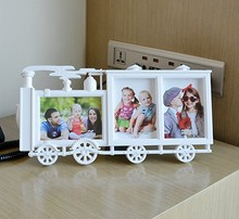 2016 NEW Fashion Locomotive Shape Creative Modern Photo Frame Train Shape Photo frame 2 function Wall & Desk  Home Decor!