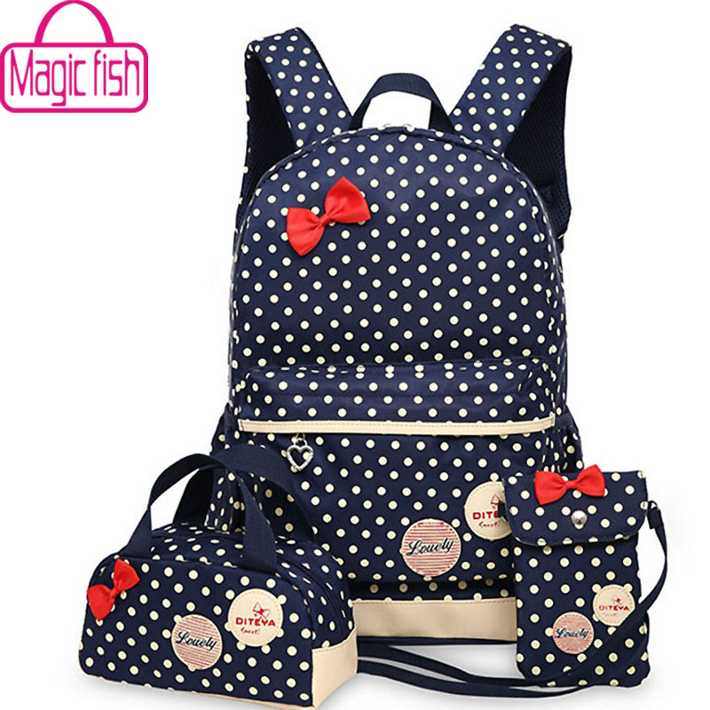 Magic fish Girl School Bags For Teenagers backpack set women shoulder travel bags 3 Pcs/Set rucksack mochila knapsack LM3582mf(China (Mainland))