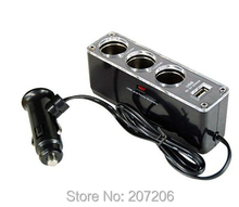 100pcs/lot  3 WAY MULTI SOCKET CAR CIGARETTE LIGHTER SPLITTER USB PLUG CHARGER DC 12V/24V Triple ADAPTER With USB Port