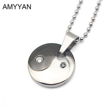316l Stainless Steel Yin Yang Necklace Tai Chi Pendants Necklace Health Magnetic Black and White Round Disc Pendant Necklace(China)