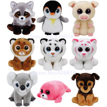 New Beanie Big Eyes Stuffed Animals Tiger Raccoon Penguin Seal Pig Dog Cat Kids Plush Toys For Children Gifts 15CM(China)