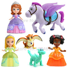 Sofia The First Toys Set of 6 Princess Sofia Amber Ruby and Royal Animal Friends Minimus Horse Dragon Owl PVC Figure Doll Toy