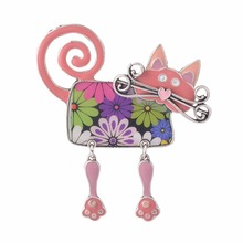 Fashion Enamel Women Girls Cat Crystal Costume Brooch Pins Bags Animal Wedding Pins Accessory Brooches Gift Bijoux Jewelry