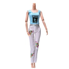 "2 Pcs/Set Blue Vest White Pants For  Barbie Dolls Summer Cool Doll Clothes Suit For Barbie 11"" Dolls"