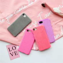 Wixcen Korea Warm Simple Candy Plush Case for IPhone 7 7plus 6 6s 6plus 5 5s case Lovers Hard Plastic Fur Phone Back Cover Case