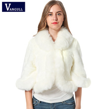 Fur Faux Fur Coat Mink Hair Rex Rabbit Hair Cape Jacket 2017 Black White Fur Overcoat Imitation Rabbit Fur Faux Fox Collar XXXL(China)