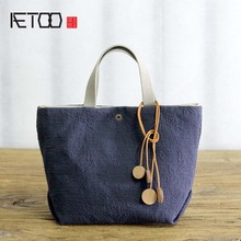 AETOO Art cotton linen single small bag light miniature female art cloth simple canvas handbag mini bag women(China)