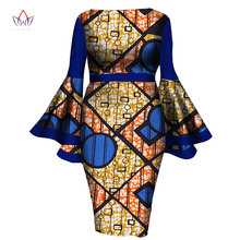 BRW 2017 New Summer African Women Dress Lady Print Wax Dresses Bazin Riche Mid-Calf Africa Sexy Speaker sleeves Dress WY1217