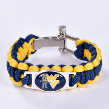 West Virginia Mountaineers Custom Paracord Bracelet NCAA College Football Bracelet Survival Bracelet, Drop Shipping! 6Pcs/lot!