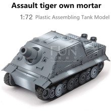 1:72 plastic assembly car toy, World War II classic assault tiger own mortar model, educational toys, boy gifts, free shipping(China)