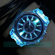 100pcs/lot excellent no crystal geneva silicone watch with night light hot selling wrap quartz casual watch geneva wristwatch(China)