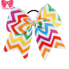 "6pcs/lot7"" Colorful Chevro Cheer Bow With Elastic Band For Girl Grosgrain Ribbon DIY Cheerleading Hair Bow Kids Hair Accessories()"