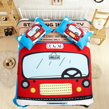 Free shipping Novelty gift lovely red bus pattern bedding set Quilt duvet Cover+pillow case for twin full queen king