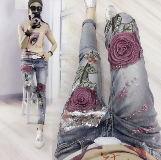 Fashion Jeans Women High Waist Boyfriend Trousers Slim Rose Embroidery Gold Sequins Jeans Students Spring and Autumn Denim Pants