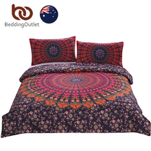 BeddingOutlet Mandala Floral Bedding Set Concealed Bedspread Duvet Cover 3Pcs Boho Bohemian Single Double Queen AU SIZE(China)