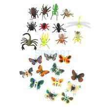 24Pcs Children's Toys Gifts Ant Bee Scorpion Dragonfly Ladybug Butterflies Insects Toy Animal Collection Models Action Figures(China)