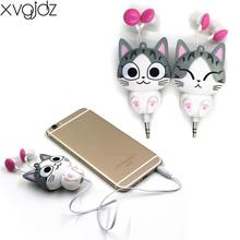 xvgjdz Cut Cartoon Cheese Cat Earphone In-Ear Automatic Retractable earphones Universal for Phone Computer MP3 MP4 Tablet PC