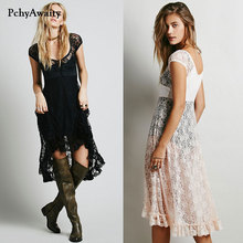 2017 large flower pattern lace up long hot dress short sleeve hollow out sexy lace dress summer irregular lace dresses