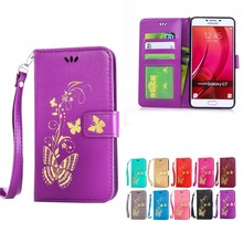 For samsung Galaxy C7 handbags butterfly cortex turn wallet for samsung C7 shockproof silicone cover card holder base