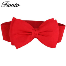 FIONTO 1 PCS 2017 Fashion Hot Sweet Women Bowknot Cummerbund Elastic Bow Wide Stretch Buckle Waistband Waist Belt 6 Colors F048