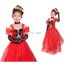Shanghai Story new Halloween costumes for cosplay kids dance Elegant hearts princess dresses costumes Evil queen dress(China)