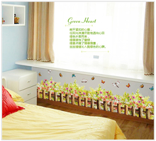 Grass fence The line that play a base stickers Children room background stickers three generations can remove the wall stickers(China)